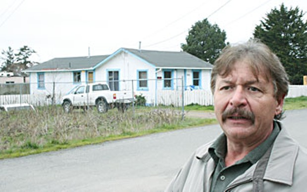 Arcata Endeavor director John Shelter at the site on St.Louis Rd. proposed as a new location for a homeless services center.  Photo by Bob Doran.
