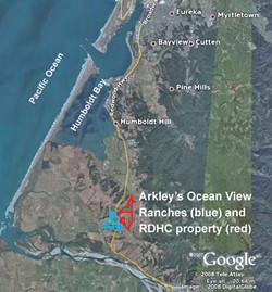 Arkley's Loleta property includes 204 acres under Ocean View Ranches, LLC (blue), and 288 acres under RDHC, LLC (red).