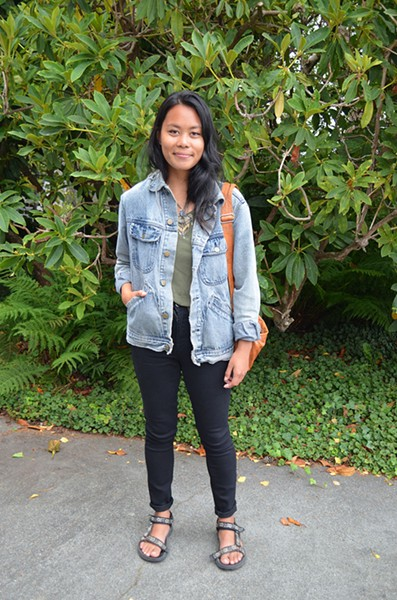 Art student and Palmdale native Christine is taking Native American studies and thrifting hard — her shirt and bag are thrift and free-pile finds, but the denim jacket is her boyfriend's. - PHOTO BY SHARON RUCHTE