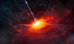 EUROPEAN SOUTHERN OBSERVATORY /M. KORNMESSER, PUBLIC DOMAIN - Artist's impression of the very distant quasar ULAS J1120+0641, with a mass two billion times that of the sun. Quasars like these are now used to test general relativity using radio waves, which can be detected in daylight.
