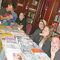 Everyone Is Connected At the Raven Project table**, left to right: Will Earlywine, Anna Thieleman (Raven's manager), Jackie Brennan, Kayla Cervantes and Zachariah Byrd. Photo by Heidi Walters