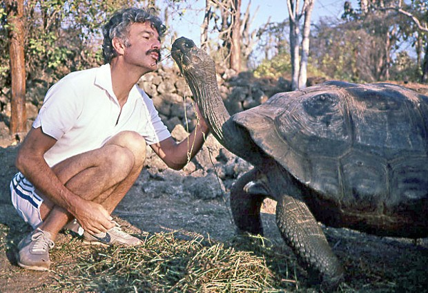 Author and Galapagos tortoise (i.e. terrestrial turtle), 1985: Darwin Research Station, Santa Cruz Island, Galapagos. Photo by Cam Mathieson
