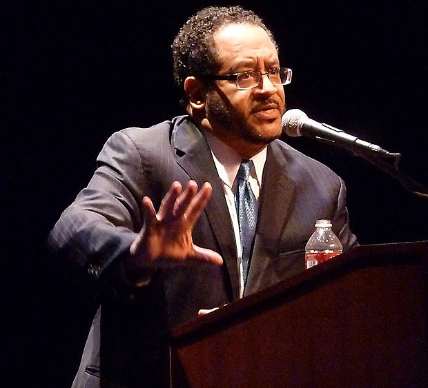 Author/pundit Michael Edward Dyson talked race at the Van Duzer Theatre as part of Humboldt State's Centennial Speaker Series on Tuesday. - PHOTO BY BOB DORAN.