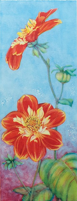 """Autumn Companions,"" a monotype by Patricia Sennott."