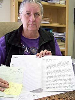 Barbara Mitchell has kept a daily journal of her experience in dealing with the aftermath of her sister's death. Photo by Heidi Walters