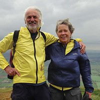 The Fireball Barry Evans and Louisa Rogers, on their coast-to-coast backpack across England in 2011 to celebrate Louisa's 60th birthday. Photo courtesy of Barry Evans and Louisa Rogers
