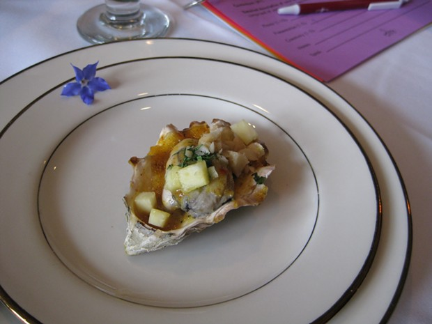 BBQ oyster with pineapple curry sauce. - JENNIFER FUMIKO CAHILL