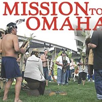 Mission to Omaha Beneath Interstate 480, tribal members perform the Brush Dance to pray for the healing of the Klamath River. Photo by Sean Welch/The Reader.