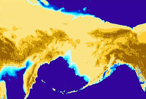 """Beringia"" 14,000 years ago. The first Americans may have walked across it or paddled along its southern shore. or an animated version showing the changing shoreline from 20,000 years ago to the present, check out: Beringia_land_bridge-noaagov.gif - MAP BY NOAA"