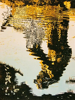 """Berti Welty's relief print """"Fisherman Reduction"""" is at Stokes, Hamer, Kaufman & Kirk, LLP this Friday night."""