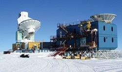 AMBLE, GNU FREE DOCUMENTATION LICENSE - BICEP observations are taken at the South Pole Dark Sector Laboratory, where the sky is the cleanest on earth, with no pollution from light or radio-waves, and virtually no water vapor in the atmosphere. The BICEP2 antenna is on the right.