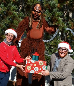 PHOTO BY ANTHONY ARNISTA FOR ARCATA PLAYHOUSE - Bigfoot Lodge: Amy Tetzlaff and Ryan Musil in Bigfoot Lodge Holiday Jamboree at Arcata Playhouse.