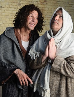 PHOTO BY EDWARD OLSON. - Bloody peasants. Anthony Mankins and Jeremy Webb in Spamalot.