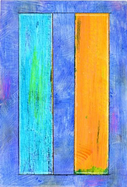 PAINTING/COLLAGE BY JOAN GOLD - Blue Yellow Green