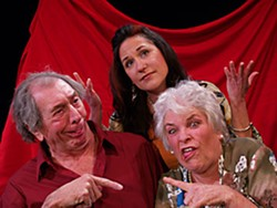 Bob Wells as Gardner, Jolene Hayes as Mags, Lynne Wells as Fanny in NCRT's Painting Churches. Photo by Michael Thomas