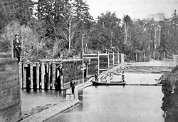 Boom across the Mad River about 1880. Photo courtesy The Humboldt Historical Society