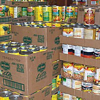 Survival! Boxes of canned goods line Robinson's store room. Photo by Kym Kemp.