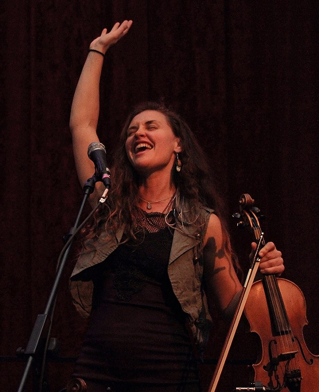 Bridget Law plays fiddle for Elephant Revival, an experimental/folk/Americana band from Nederland, COLO., on March 6 at The Arcata Theatre Lounge. - PHOTO BY BOB DORAN