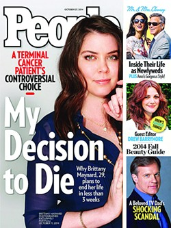 Brittany Maynard, seen here on the cover of People Magazine after being diagnosed with late-stage brain cancer, moved to Oregon to take her own life legally.
