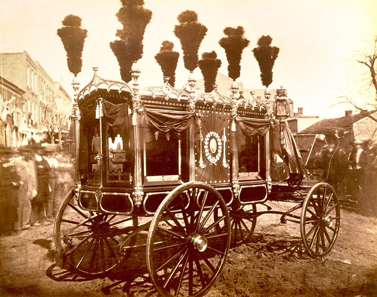 The hearse that carried Lincoln on the last day of his funeral procession in 1865. - LIBRARY OF CONGRESS