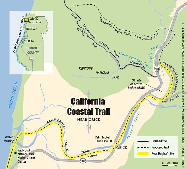 California Coastal Trail - © NORTH COAST JOURNAL, SOURCES: CALIFORNIA COASTAL CONSERVANCY AND REDWOOD COMUNITY ACTION AGENCY