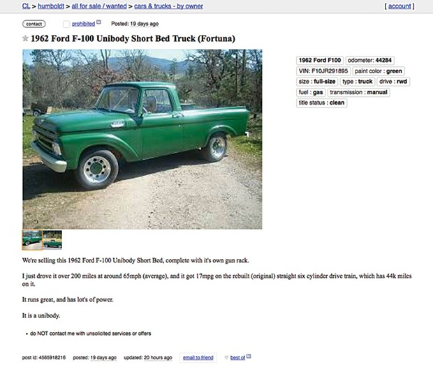 Cars on Craigslist. Better than dating there. - PHOTO COURTESY OF CRAIG.