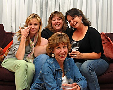 Cast of Getting It: Lynnie Horrigan on left, Christina Jioras  at back, Tinamarie Ivey  on right, Susan Abbey in front, not shown, Siena Nelson. Photo courtesy Redwood Curtain