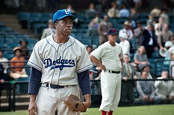 Chadwick Boseman stars as Jackie Robinson in 42.