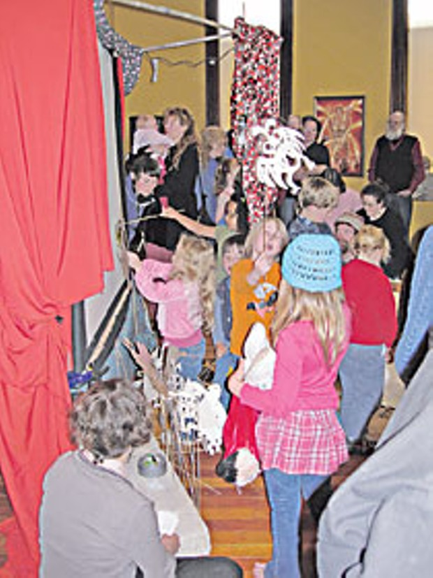 Children participate in an Arts Day activity at the Morris Graves Museum of Art. Photo courtesy MGMA
