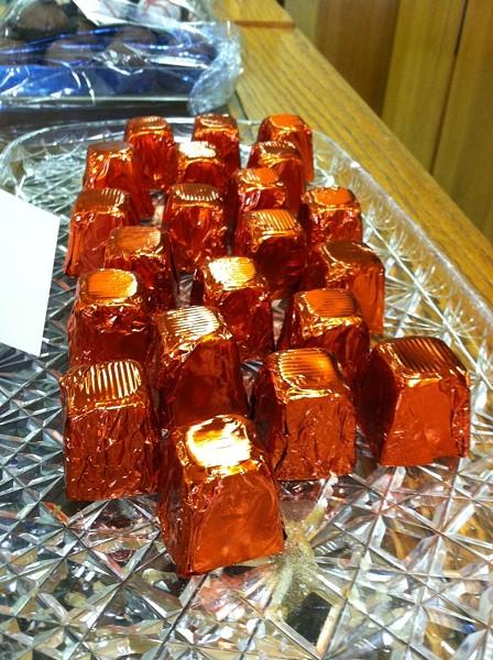 Chocolates filled with orange liqueur. - JENNIFER FUMIKO CAHILL
