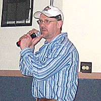 "7 Days of Karaoke Chris Clay singing ""Billie Jean"" at the Boiler Room. Photo by Joel Hartse."