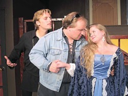PHOTO COURTESY OF NORTH COAST REPERTORY THEATRE. - Christian Litten, Evan Needham and Jennifer Trustem.