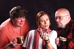 COURTESY OF REDWOOD CURTAIN THEATRE - Christina Jioras, Nadia Adame and Raymond Waldo in a Chekhov-flavored comedy.