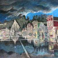 Jack Mays Artwork Christmas (Main Street) Colored pencil drawing by Jack Mays, image courtesy of Carrie Grant
