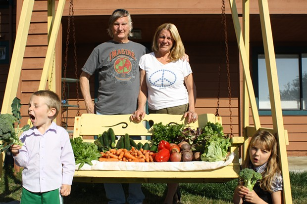 Chuck and Sherry Vanderpool with a load of vegetables from DeepSeeded Community Farm - COURTESY OF HUMBOLDT HOMEMADE MEALS