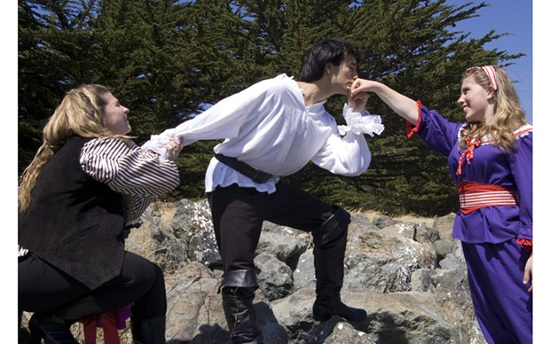 Cindy Cress, James Gadd and Fiona Ryder as Ruth, Frederic and Mabel in HLOC's The Pirates of Penzance - COURTESY OF HLOC