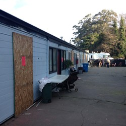 City officials boarded up the Blue Heron's rooms after tenants vacated the property. - EPD CAPT. STEVE WATSON