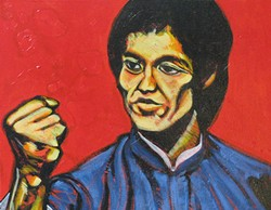 Come face to face with Augustus Clark's heroes, like Bruce Lee, at Upstairs Gallery.