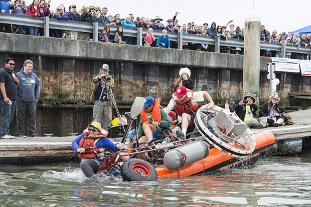 Corpie Cruiser capsizes moments after entering Humboldt Bay. - MARK MCKENNA