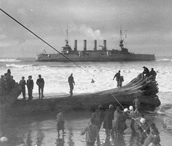 U.S. NAVAL HISTORICAL CENTER - Crewmen being brought ashore two at a time by breeches buoy from the stranded USS Milwaukee - January 1917