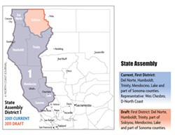 © NORTH COAST JOURNAL. SOURCES HTTP://WEDRAWTHELINES.CA.GOV AND HTTP://SWDB.BERKELEY.EDU/MAPS.HTML - Current Maps And Draft Redistricted Map  (As of July 15, 2011)