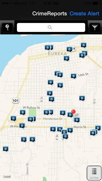 Screenshot of residential and commercial break-ins in part of Eureka in the past 30 days. - IMAGE COURTESY OF THE EUREKA POLICE DEPARTMENT