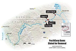Dams on the Klamath River slated for removal. Map by Miles Eggleston, ©2009 North Coast Journal