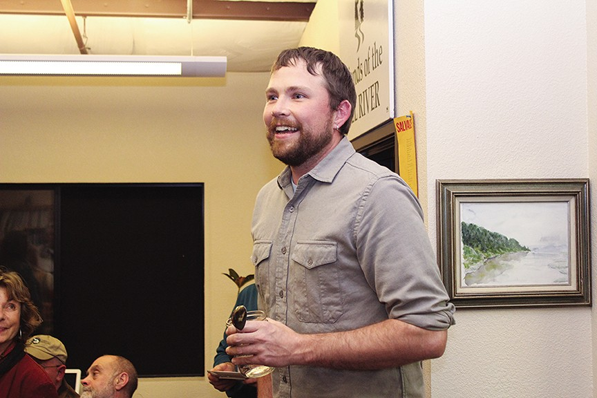 Dan Ehresman, executive director of the Northcoast Environmental Center, gives a little speech welcoming Humboldt Baykeeper into the NEC fold at a new year reception at the offices shared by several eco-nonprofits.