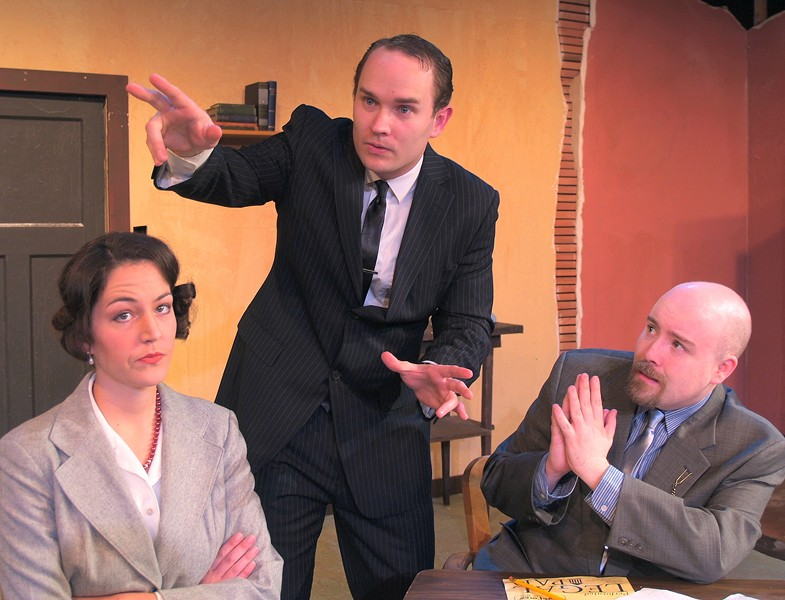 Darcy Brown as Carol, David Hamilton as Max, Anders Carlson as Val in NCRT's Laughter On The 23rd Floor - COURTESY OF NCRT