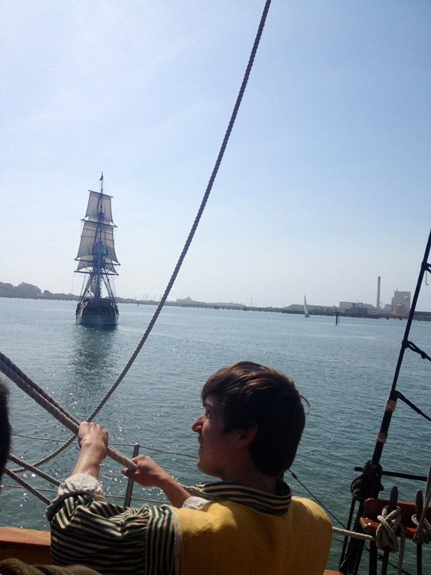 Davey was learning the ropes on the Chieftain after having begun his sea duty aboard the Lady. - PHOTO BY HEIDI WALTERS