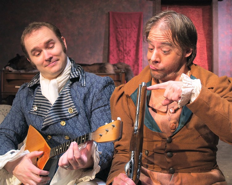 David Hamilton as Hlestakov, Brian Walker as Osip in NCRT's The Government Inspector - PHOTO COURTESY OF NCRT