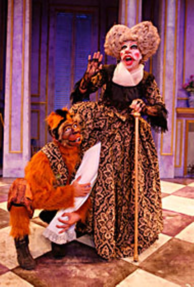 "Dell'Arte Company members Adrian Mejia and Barbara Geary in ""Tartuffe,"" a contemporary adaptation of Moliere's classic comedy, during the 2007 Mad River Festival. The Mad River Festival runs through July 21. Photo by Ed Smith"