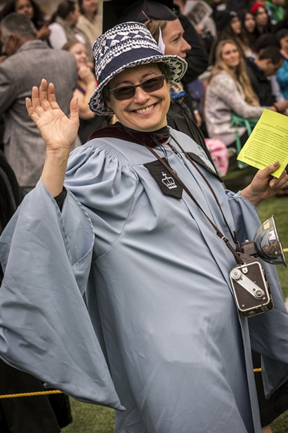 Department of Journalism and Mass Communication Chair and Journal columnist Marcy Burstiner in her commencement finest. Burstiner's work for the Journal recently took home the award for best columns at the 2015 California Newspaper Publisher's Association's Better Newspaper Contest. - MARK LARSON