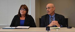 PHOTO BY GRANT SCOTT-GOFORTH - DHHS Assistant Director of Administration Connie Beck and DHHS Director Phil Crandall discuss the county's plan to staff the Mental Health Branch.